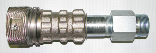 "Picture of ACME A577CLC: 1-1/4"" MALE PIPE THREAD x 1-3/4"" FEMALE ACME LOCKING COUPLER"