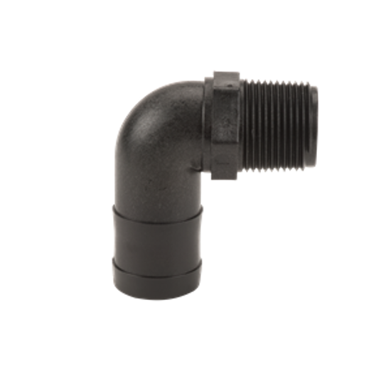 """Picture of KING NIPPLE POLY 1"""" MPT X 3/4"""" HOSE BARB HB100/075-90"""